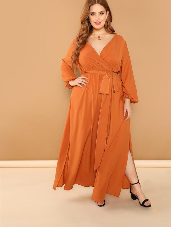 Plus Size Slit Side V Neck Solid Dress