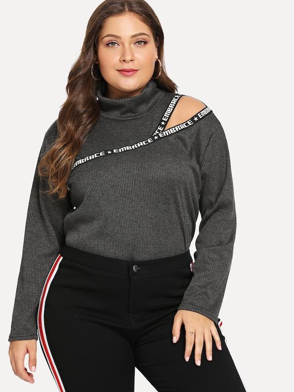 Plus Size Letter Taped Tee