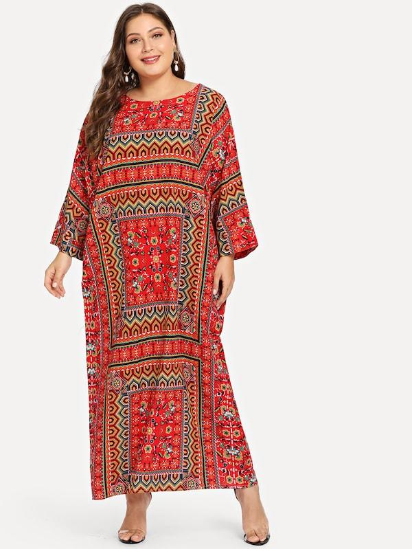 Geometric Print Drop Shoulder Longline Dress