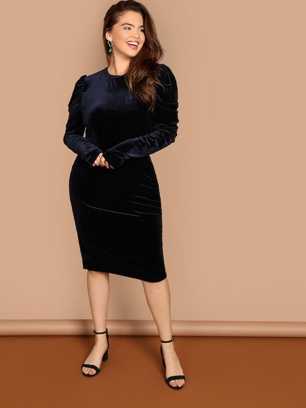 Plus Size Gigot Sleeve Velvet Bodycon Dress