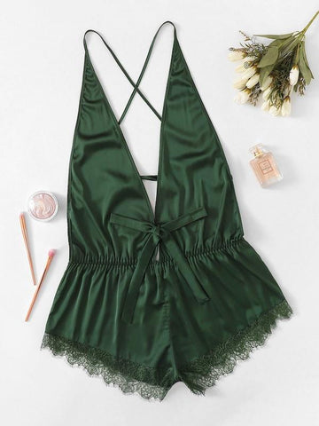Plus Size Criss Cross Lace Trim Satin Romper