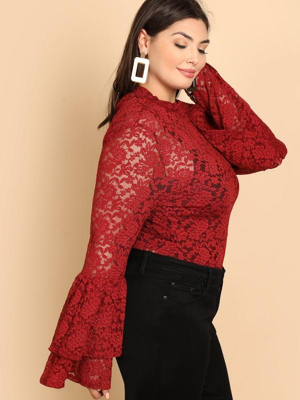 Plus Bell Sleeve Keyhole Back Lace Top