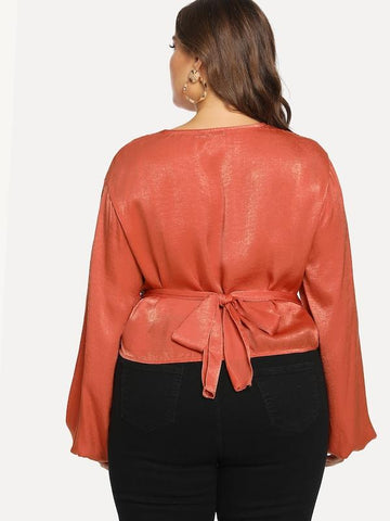 Plus Size Surplice Wrap Neck Knot Solid Blouse
