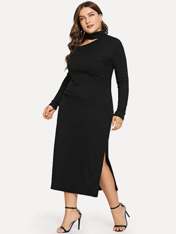 Plus Size Asymmetrical Neck Split Side Dress