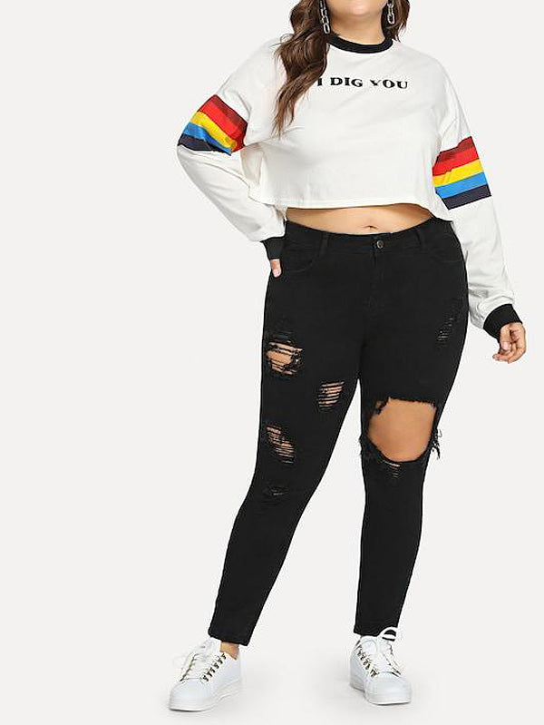 Plus Size Ripped Solid Skinny Denim Jeans