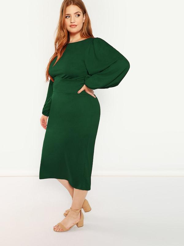Plus Lantern Sleeve Belted Pencil Dress
