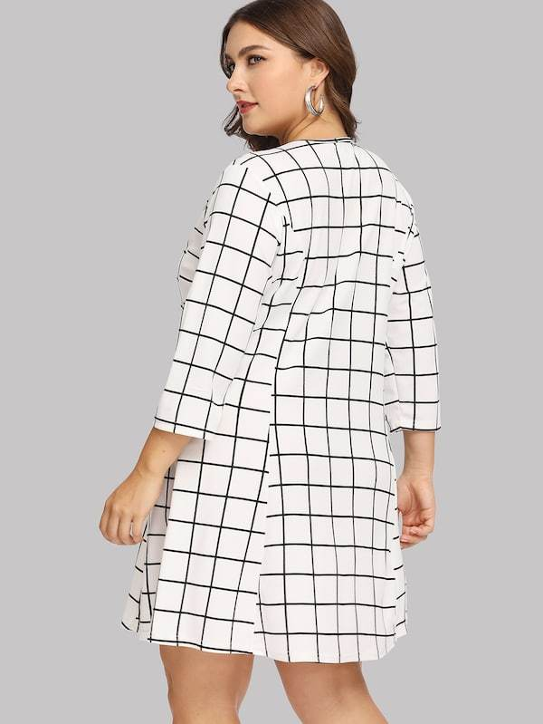 Plus Zip Front Grid Dress