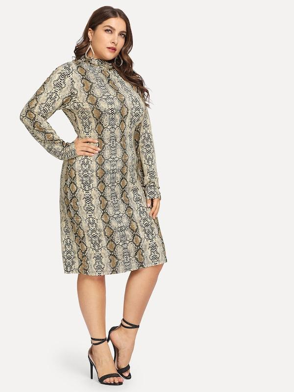 Plus Size Snake Print Fitted Dress