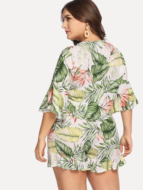 Plus Size Knot Front Tropical Top & Shorts Co-Ord