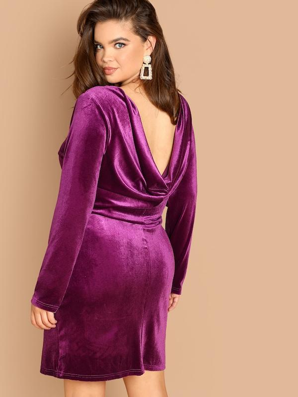 Plus Size Drape Back Solid Velvet Dress