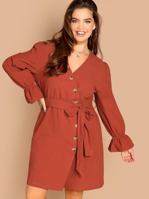 Plus Size Flounce Sleeve Buttoned Wrap Belted Dress