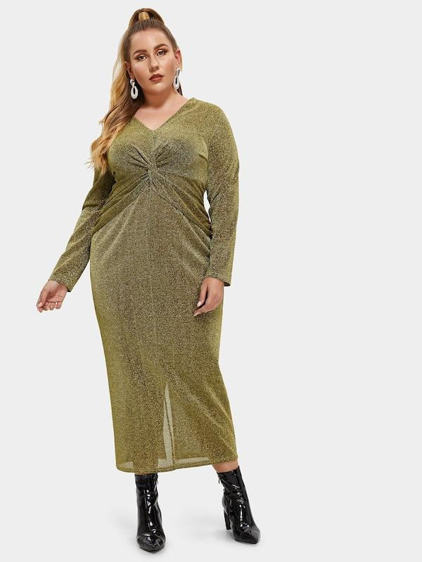 Plus Size Twist Front Glitter Dress