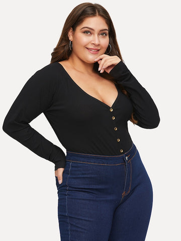 Plus Size Deep V Neck Rib-Knit Skinny Bodysuit