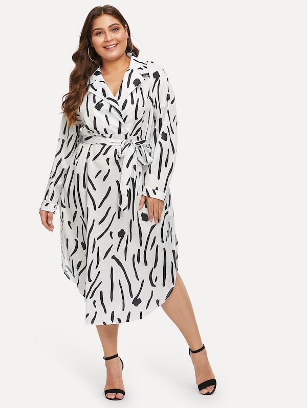 Plus Size Notch Collar Tie Waist Wrap Dress
