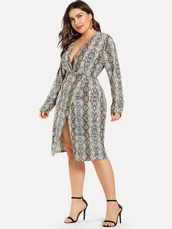 Plus Size Plunging Neck Snake Print Dress