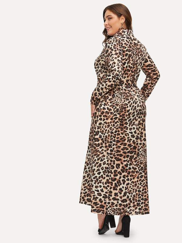 Plus Leopard Print Longline Shirt Dress