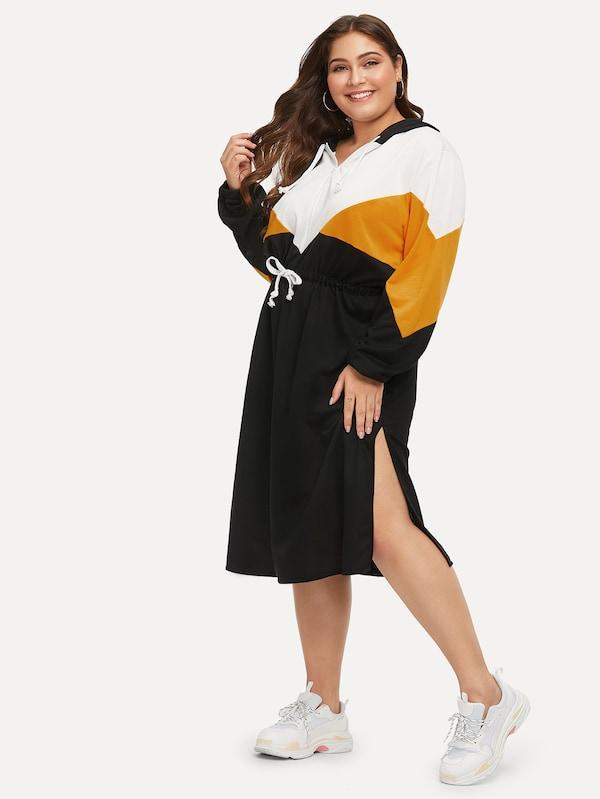 Plus Size Colorblock Side Drawstring Waist Hooded Dress