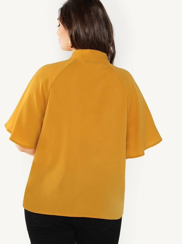 Plus Size Flutter Sleeve Tied Neck Top
