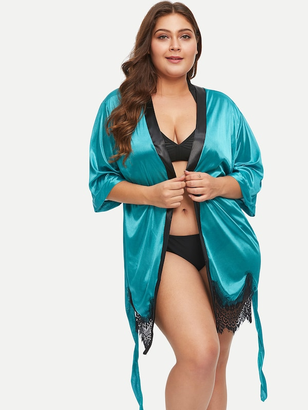 Plus Size Lace Hem Belted Robe With Thong
