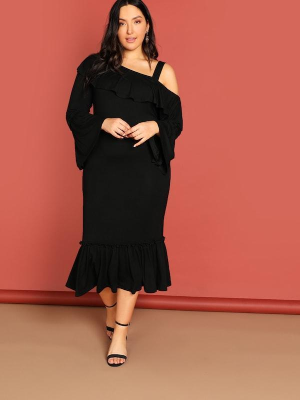 Plus Size Asymmetrical Neck Open Shoulder Ruffle Dress