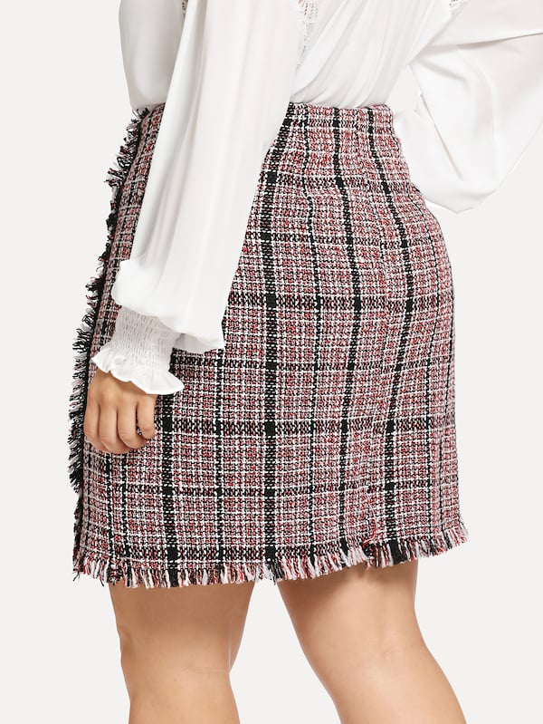 Plus Size Frayed Trim High Waist Skirt