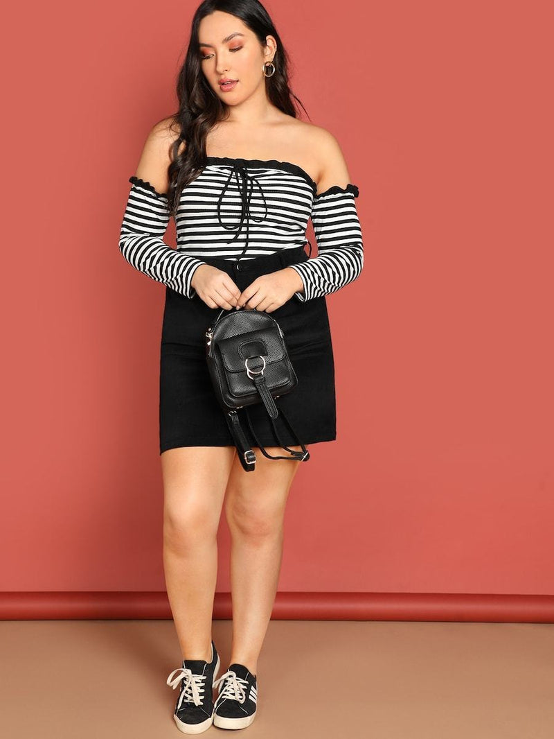Plus Size Tie Neck Striped Tee