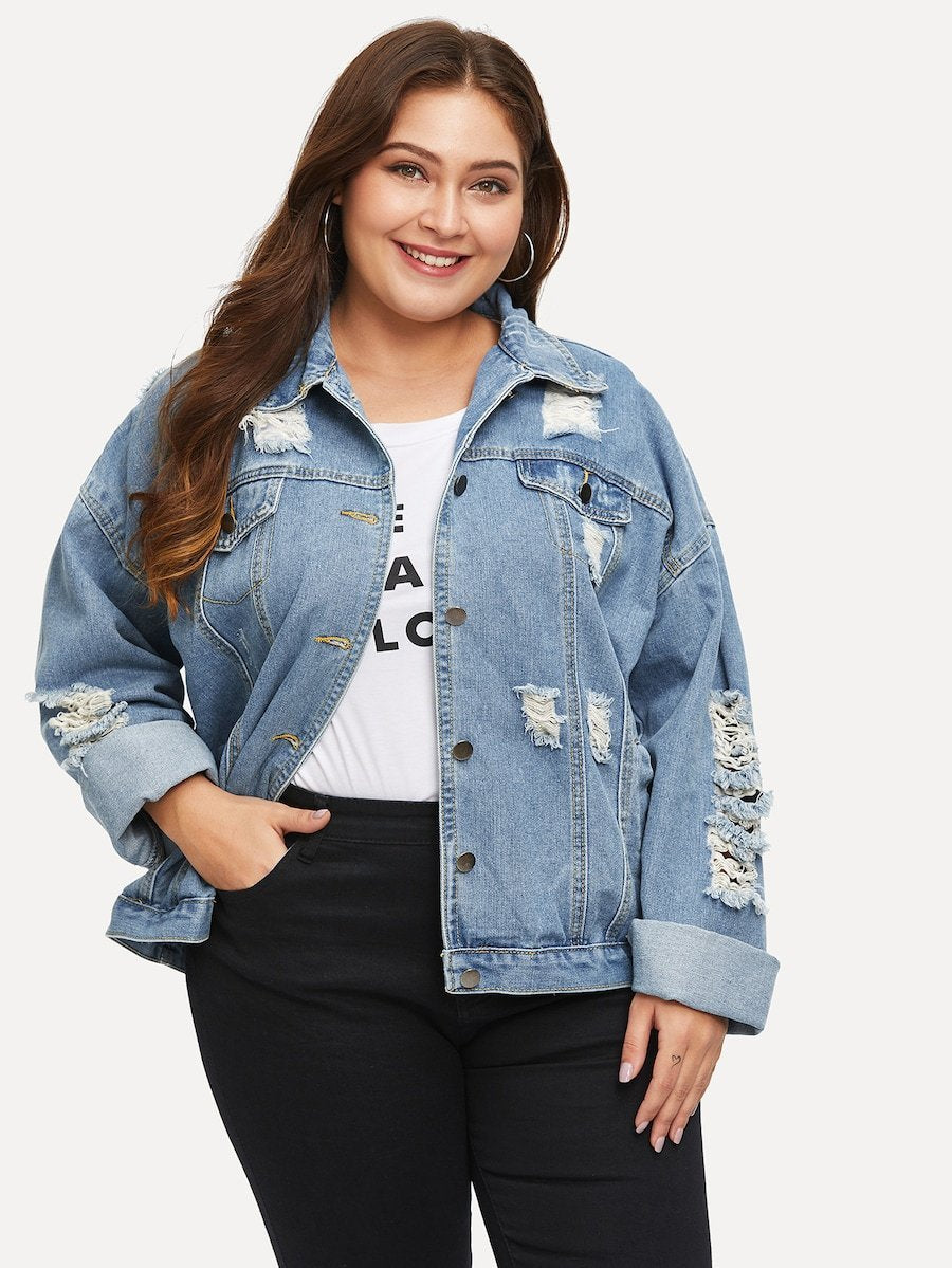 Plus Size Destroyed Denim Jacket