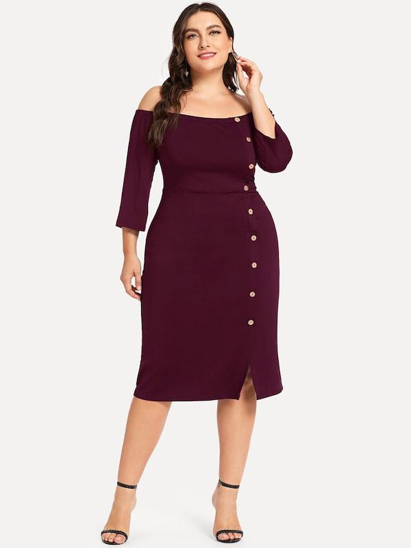 Plus Size Off Shoulder Button Detail Dress