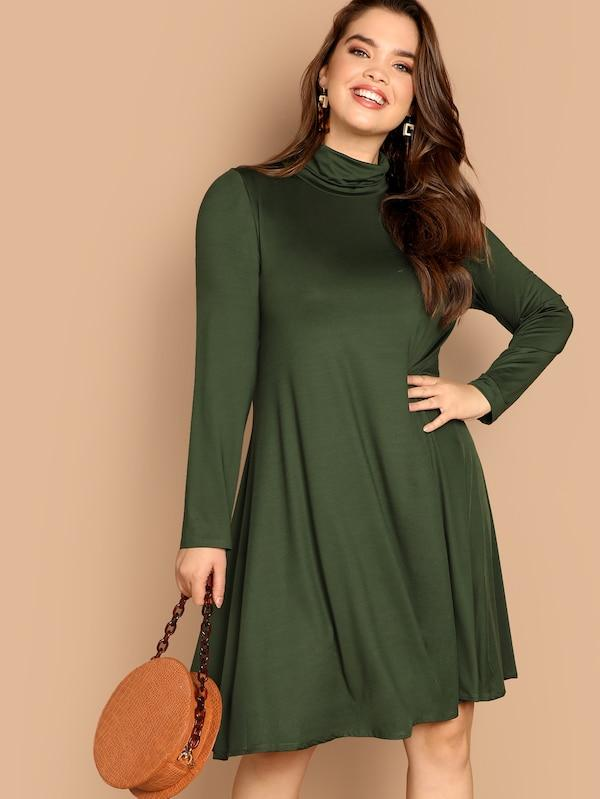 Plus Size High Neck Solid Swing Dress