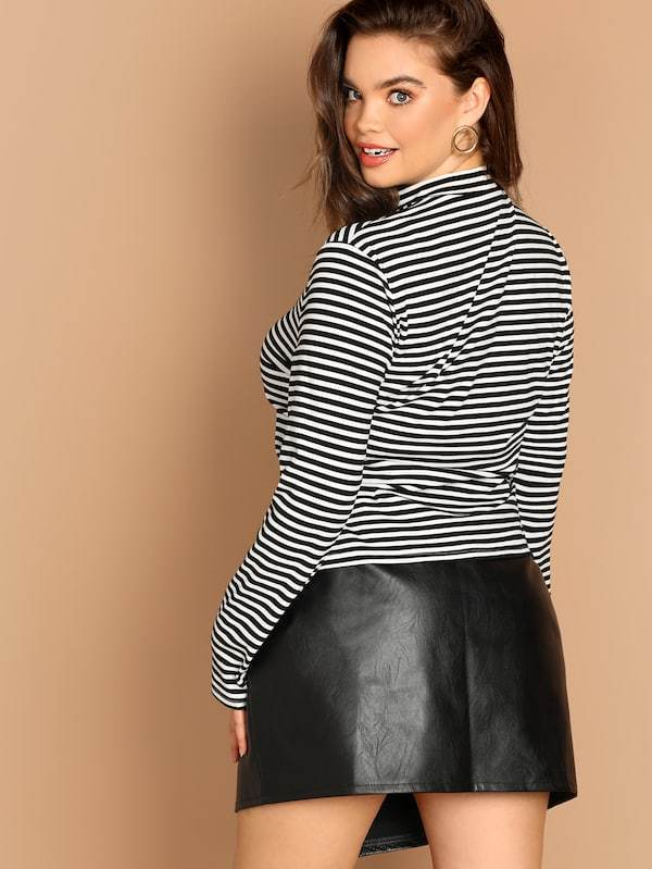 Plus Size Mock-Neck Form Fitting Striped Tee