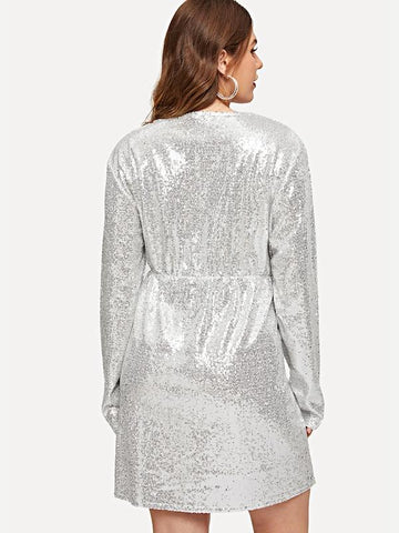 Plus Size Double V Neckline Glitter Dress