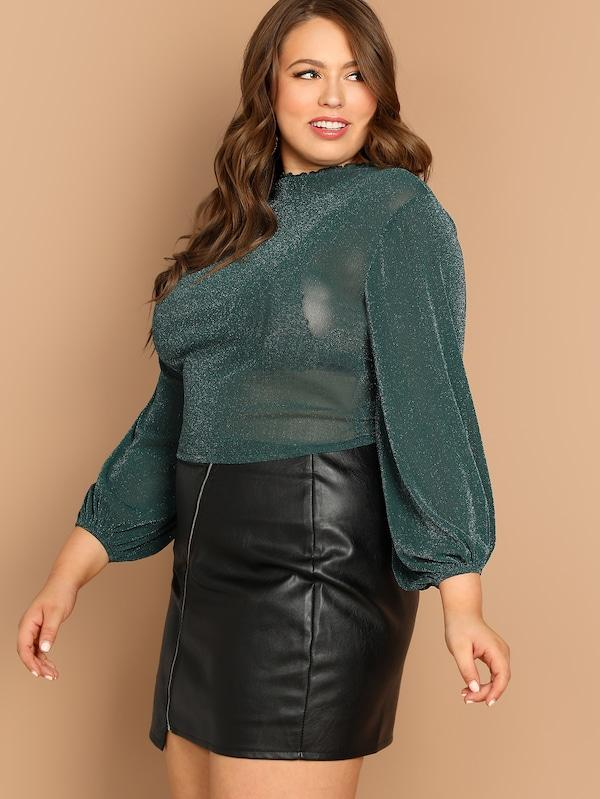 Plus Size Mock Neck Sheer Semi Blouse