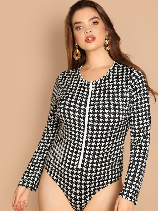 Plus Size Zip Front Houndstooth Form Fitting Bodysuit