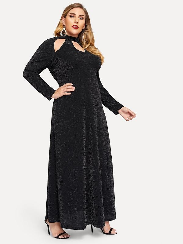 Plus Size Cutout Mock-Neck Dress