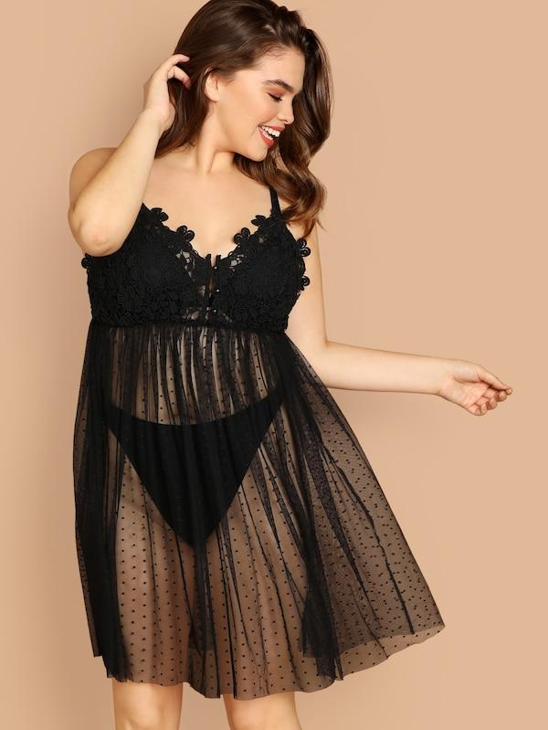 Plus Size High Waist Mesh Contrast Cami Pajama Dress