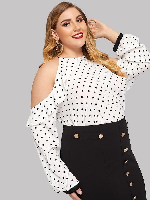 Plus Size Open Shoulder Dot Print Ruffle Blouse
