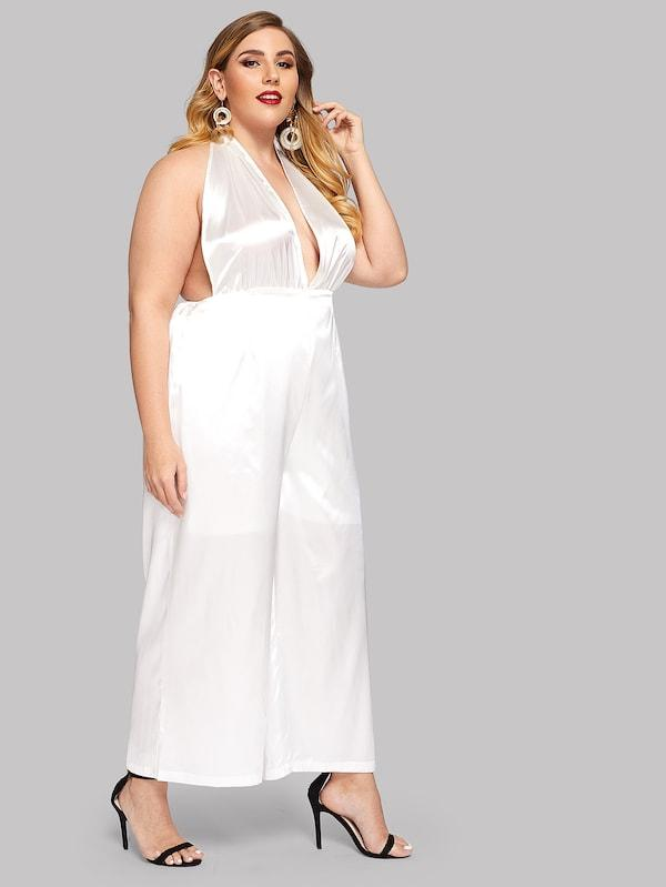 Plus Size Deep V Neck Solid Halter Jumpsuit