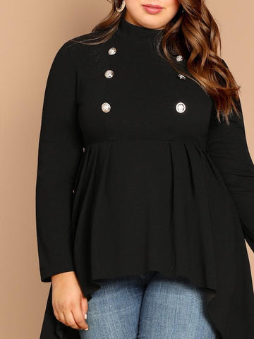 Plus Size Mock-Neck Dip Hem Top