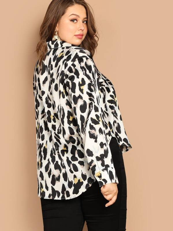 Plus Size Pocket Patched Leopard Print Shirt