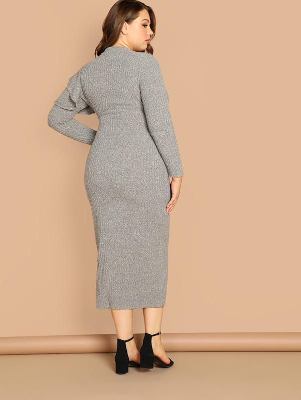 Plus Size Ruffle Trim Heathered Knit Bodycon Dress