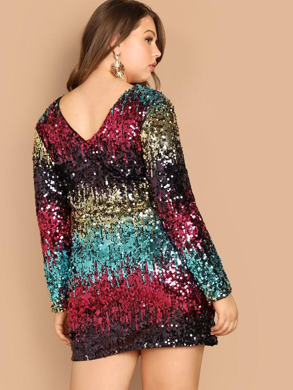 Plus Size Cut-And-Sew Sequin Dress
