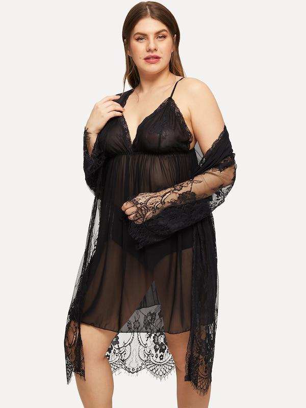 Plus Floral Lace Sheer Cami Dress With Robe