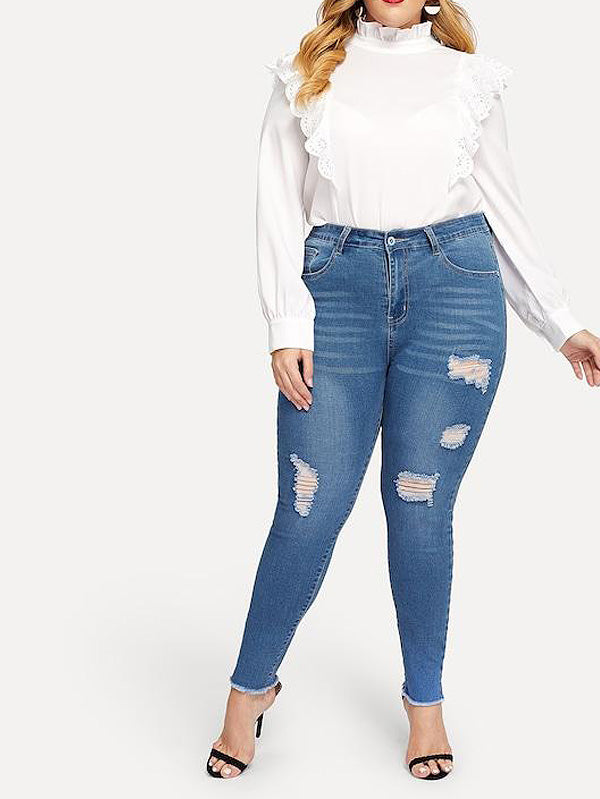 Plus Size Cut Out Ripped Jeans
