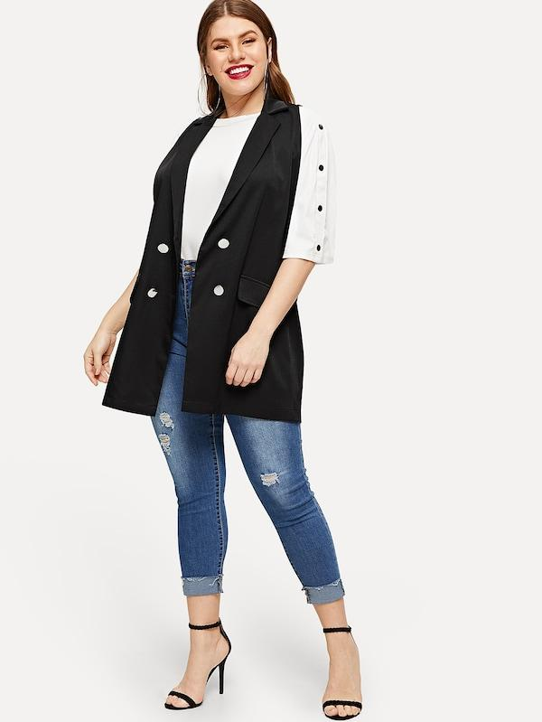 Plus Size Double Breasted Sleeveless Blazer