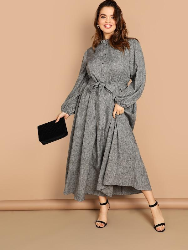 Plus Size Ruffle Detail Button Belted Dress