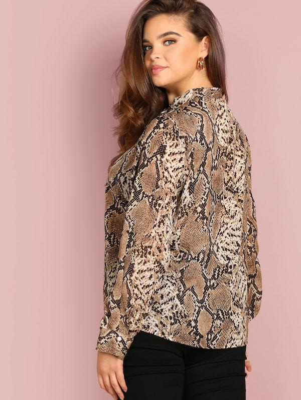 Plus Size Tie Neck Snake Skin Print Top