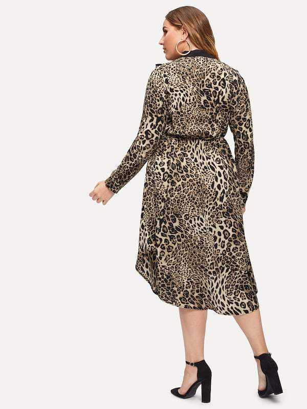 Plus Size Tie Neck Frill Trim Leopard Dress