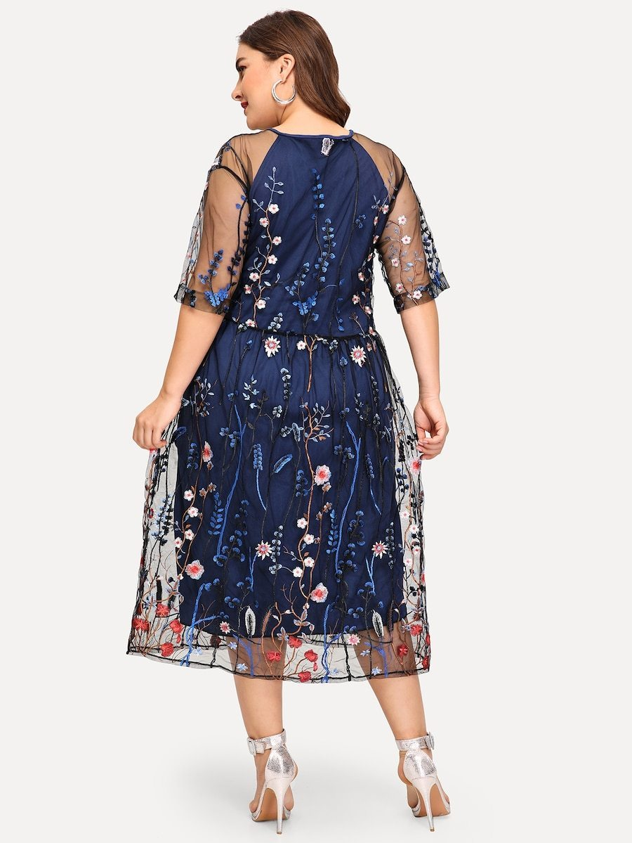 Plus Size Contrast Mesh Embroidery Dress