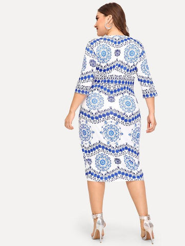 Plus Size Blue And White Porcelain Print Dress