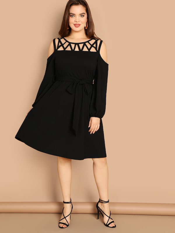 Plus Size Cold Shoulder Cutout Front Belted Dress